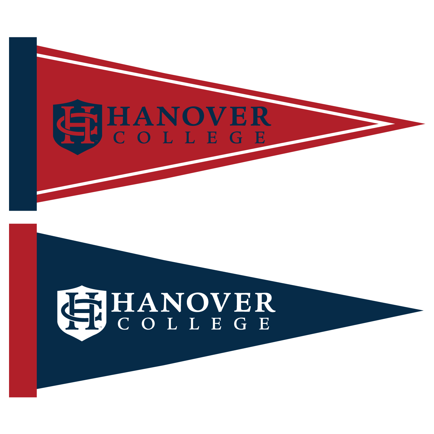 Hanover College maroon and navy pennants.