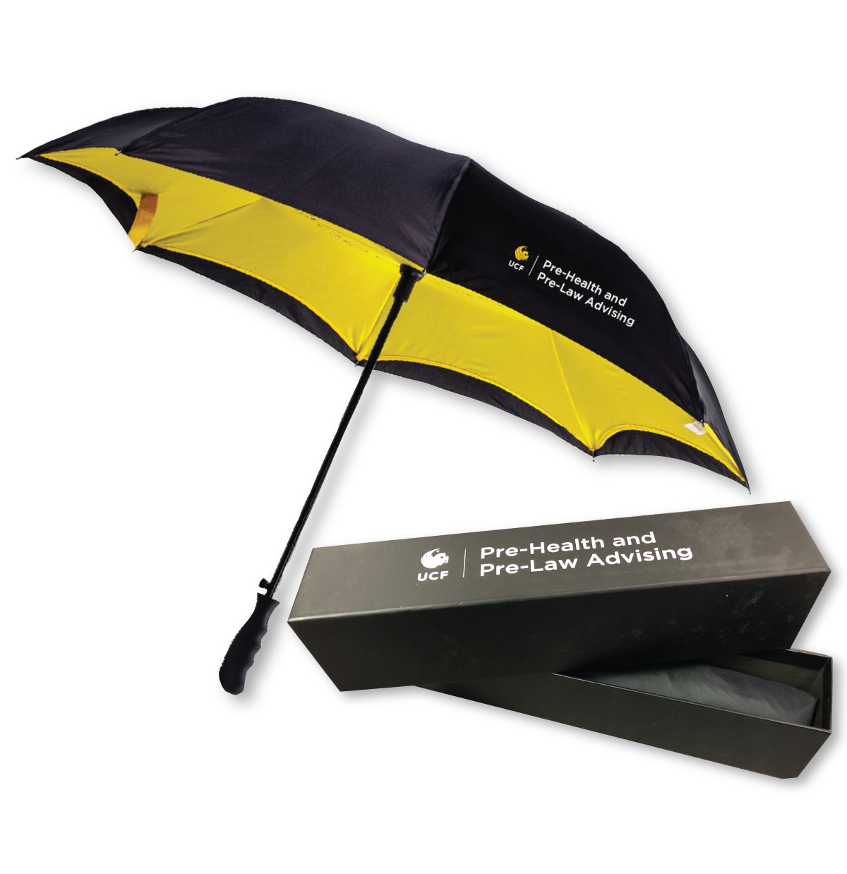 Custom Yellow and black umbrella with a custom gift box.