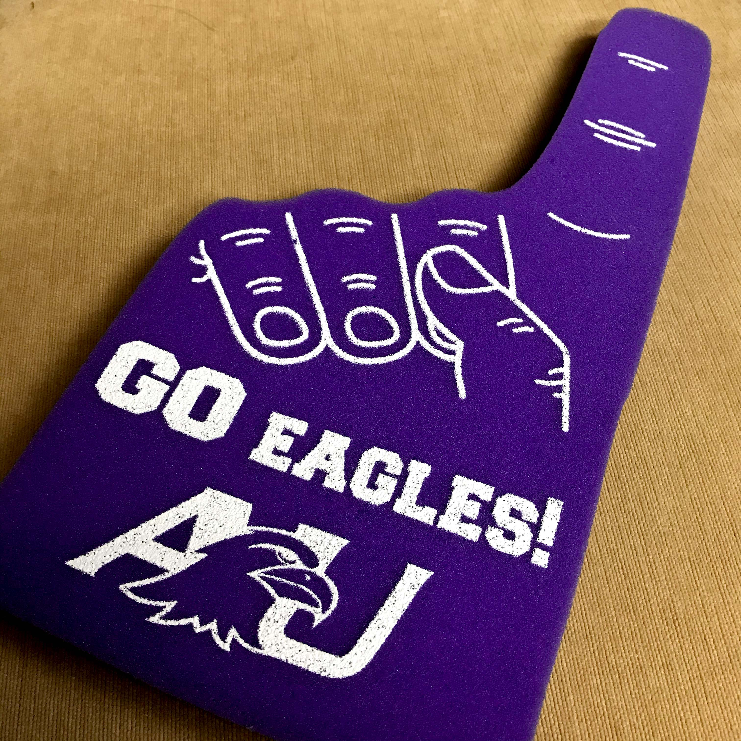 GO Eagles AU purple foam finger.