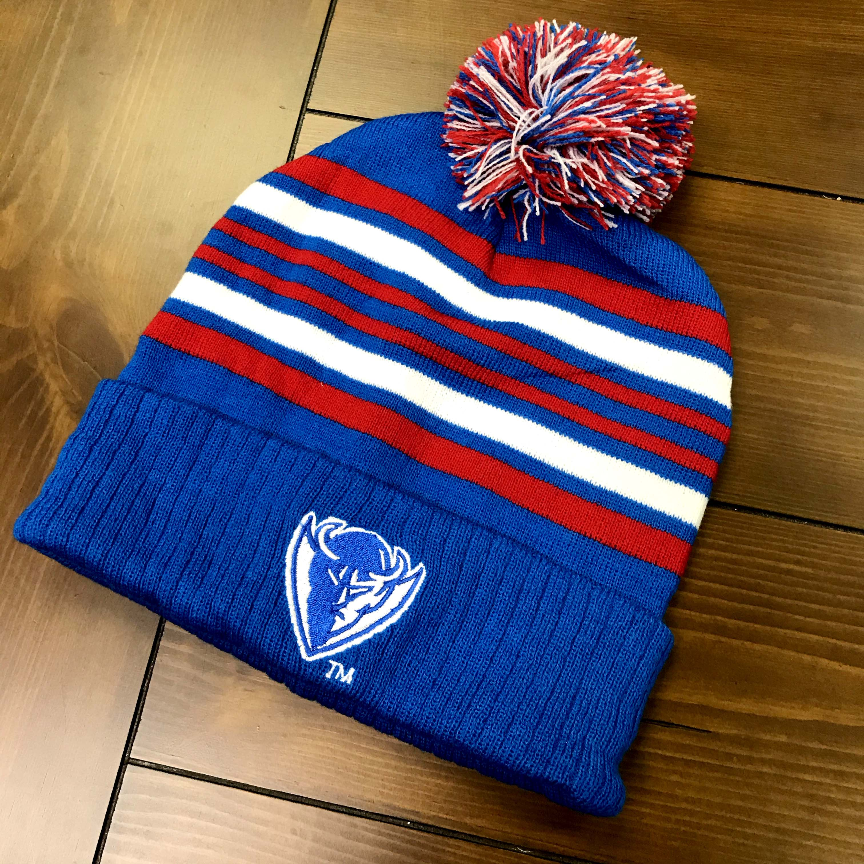 Blue, red, white Devils beanie.