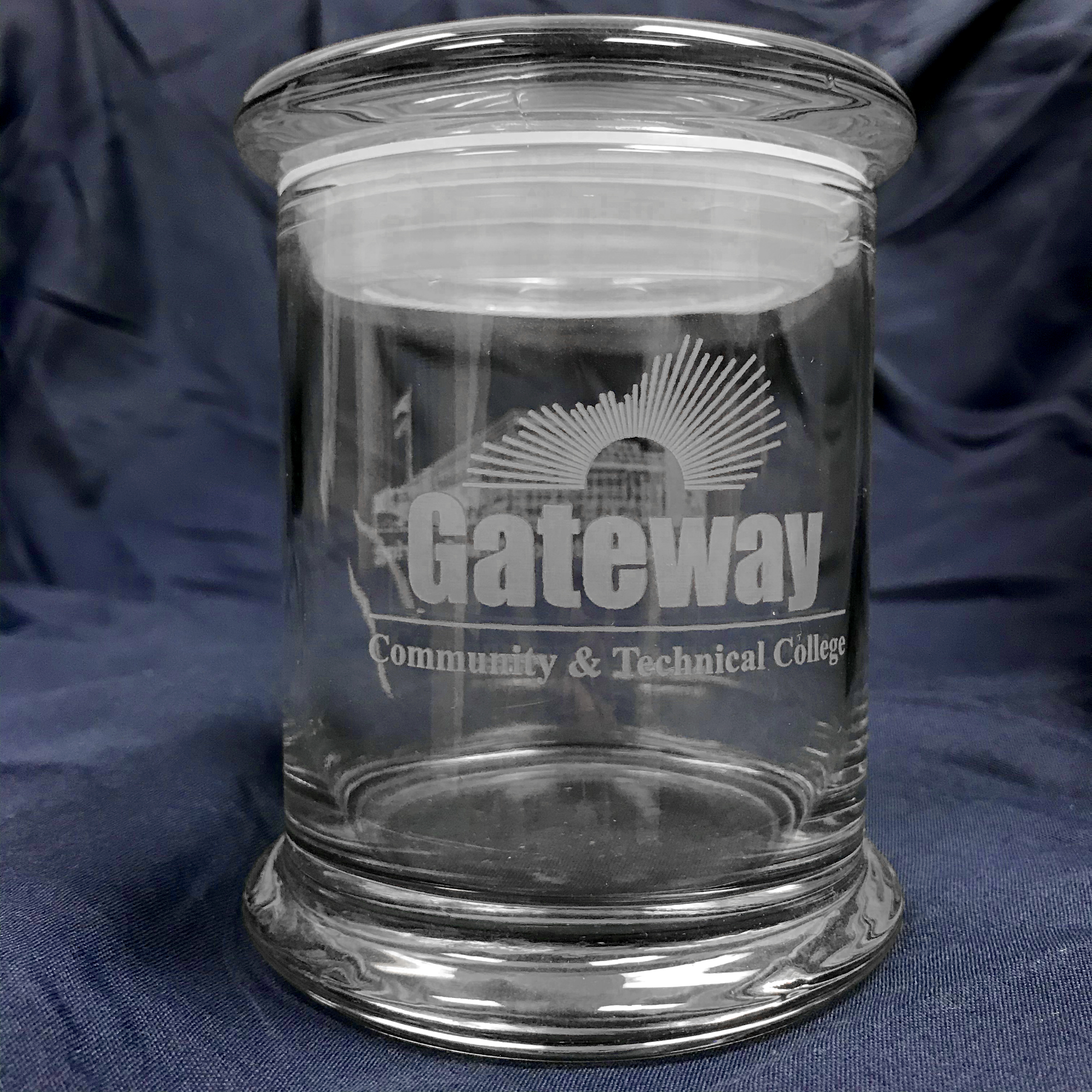 Gateway Community College glass container.