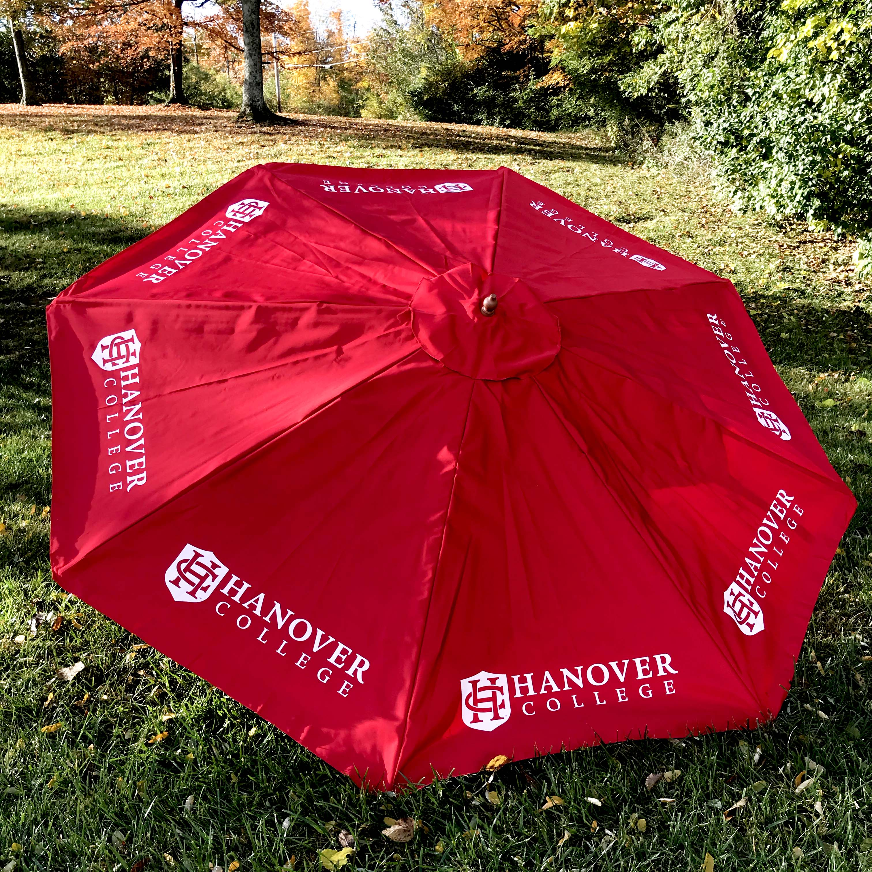 Hanover College patio umbrella.