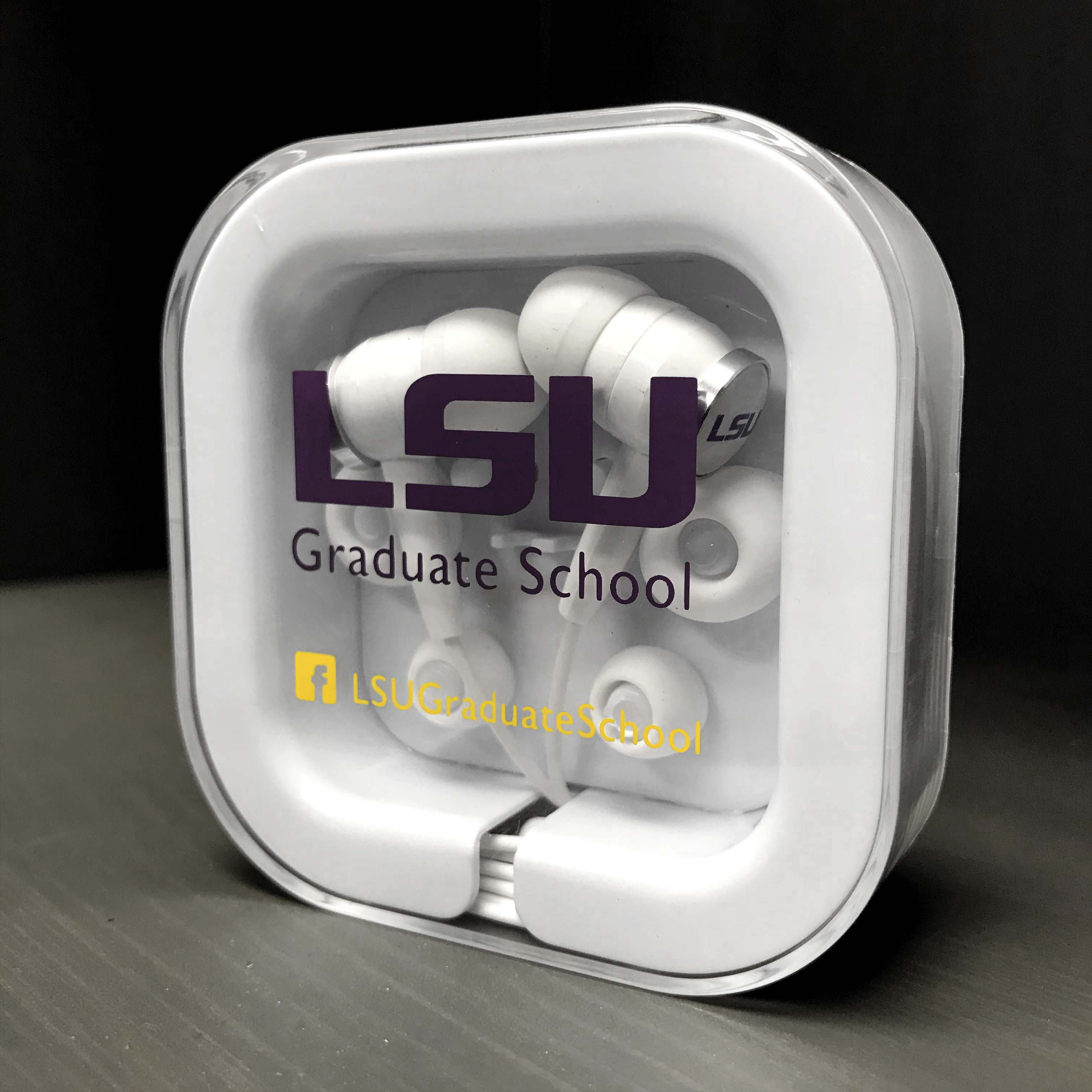 LSU Custom earbud headphones.