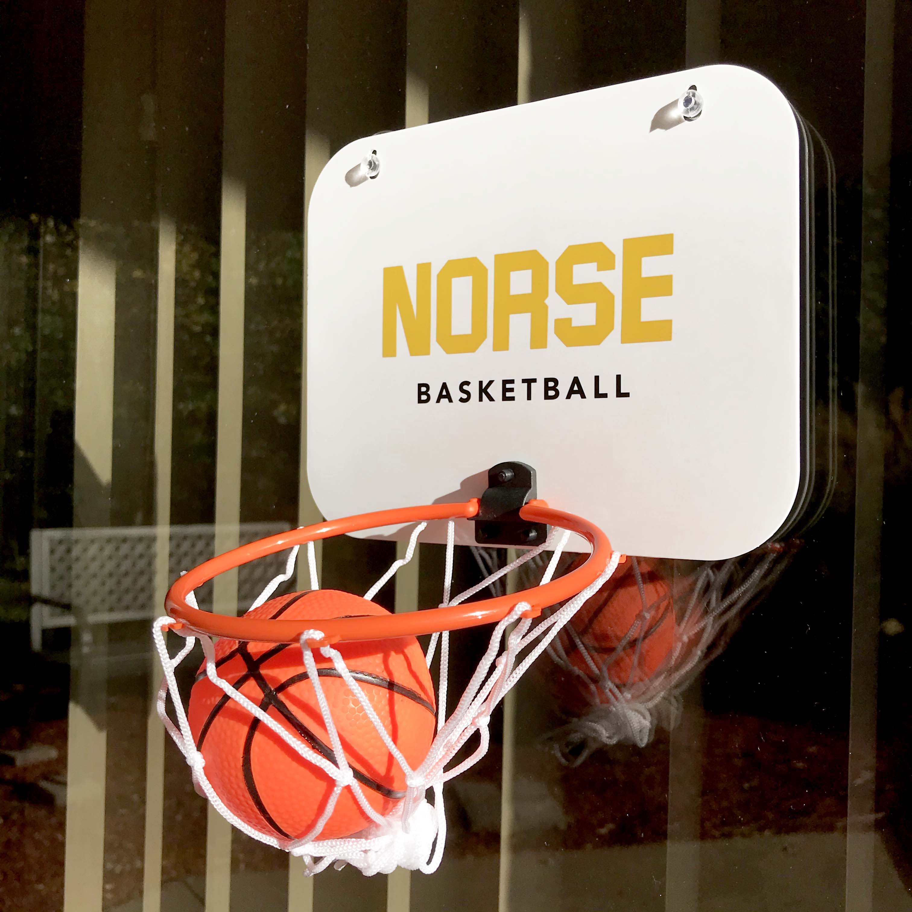 Small custom made NKU basketball hoop.