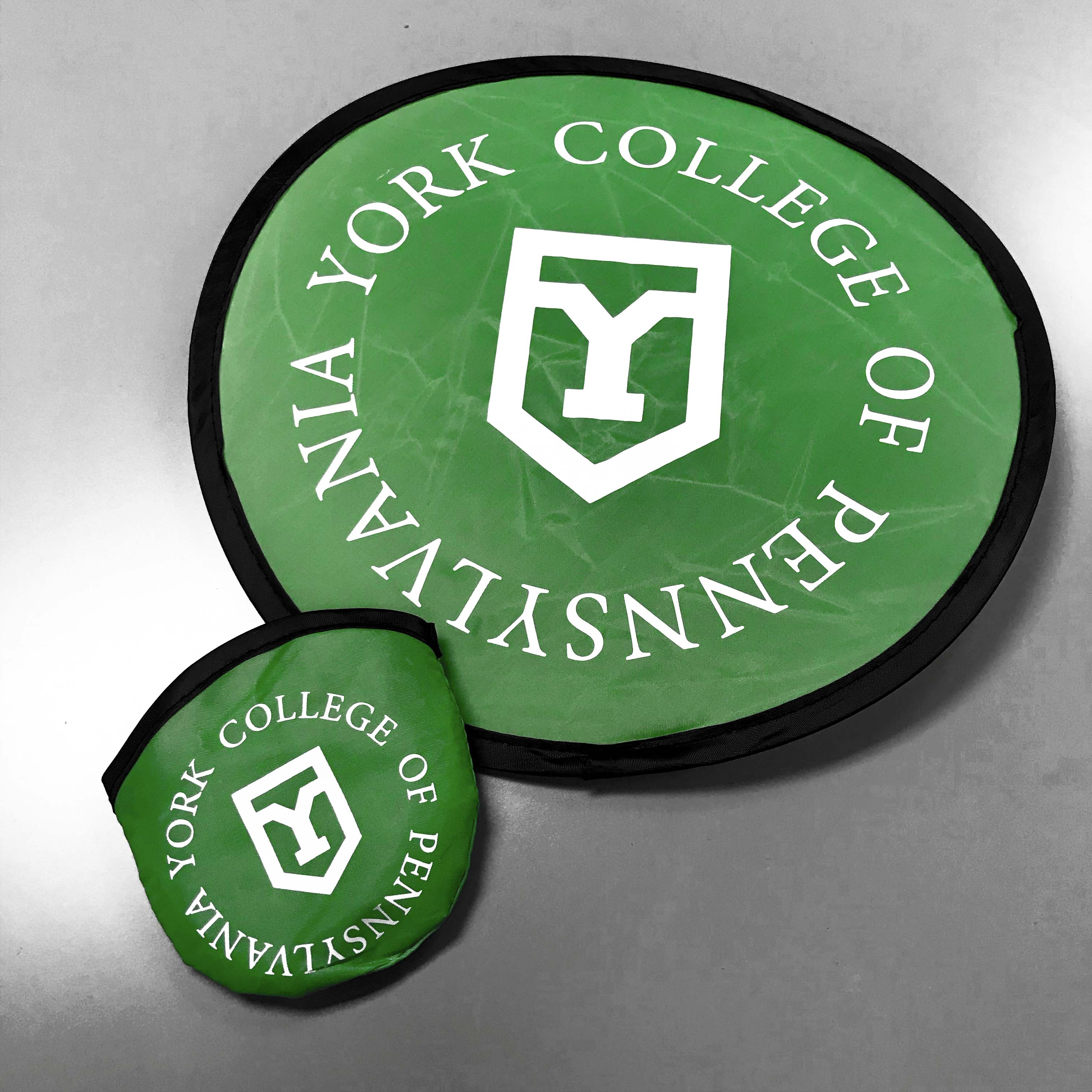 York College of Pennsylvania green frisbee.